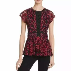 Parker Small Red Lace Whittney Peplum Top